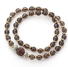 Double Rows Natural Smoky Quartz and Golden Color Beads Stretch Bangle Bracelet with Brown Rhinestone Ball under $ 40