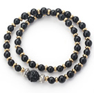 Double Rows Black Agate and Golden Color Beads Stretch Bangle Bracelet with Black Rhinestone Ball