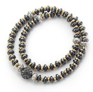 Double Rows Black Hematite and Golden Color Beads Stretch Bangle Bracelet with Black Gray Rhinestone Ball