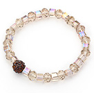 Simple Design Ambar Crystal Stretch Bangle Bracelet with Brown Rhinestone Ball