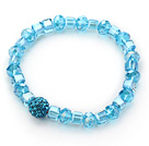 Simple Design Lake Blue Crystal Stretch Bangle Bracelet with Blue Rhinestone Ball under $ 40