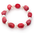 Single Strand Oval Shape Red Coral and Round White Freshwater Pearl Stretch Bangle Bracelet
