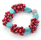 Assorted Turquoise and Round Alaqueca Stretch Bangle Bracelets
