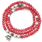Rose Pink Color Candy Jade 4 Wrap Stretch Bangle Bracelet with White Porcelain Stone and Elephant Accessories under $ 40