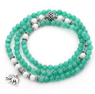 Lake Green Color Candy Jade 4 Wrap Stretch Bangle Bracelet with White Porcelain Stone and Elephant Accessories under $ 40