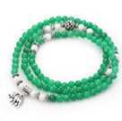 Green Color Candy Jade 4 Wrap Stretch Bangle Bracelet with White Porcelain Stone and Elephant Accessories under $ 40