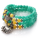 Green Color Candy Jade 4 Wrap Stretch Bangle Bracelet with Yellow Candy Jade and Elephant Accessories