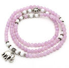 Light Purple Color Candy Jade 4 Wrap Stretch Bangle Bracelet with White Porcelain Stone and Elephant Accessories