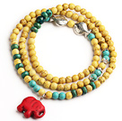 Yellow Color Turquoise 4 Wrap Stretch Bangle Bracelet with Green Turquoise and Elephant Accessories (The Elephant is Random)