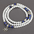 White Candy Jade 4 Wrap Stretch Bangle Bracelet with Lapis and Elephant Accessories under $ 40