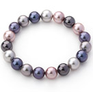 Classic Design Assorted Multi Color 10mm Round Seashell Beaded Stretch Bangle Bracelet