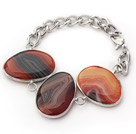 Fashion Style Brown Color Metal Wrapped Brazil Atriped Agate Bracelet with Metal Chain