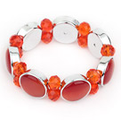 Fashion Style Orange Red Color Cats Eye and Orange Red Crystal Stretch Bangle Bracelet
