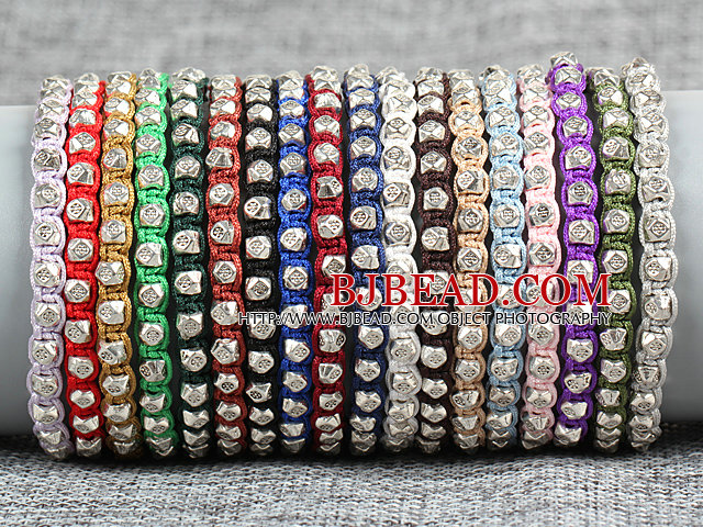 8 PCS Trendy Nickel Free Alloyed Charm Multi Color Thread Hand-Knitted Bracelet (Random Color)