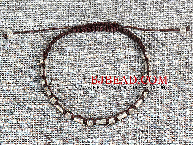 6 PCS Pupular Alloyed Accessory Brown Thread Hand-Knitted Bracelet