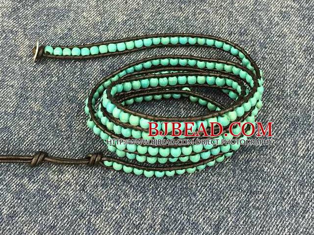 Fashion Hot Sale Multi Strands Round Turquoise Beads Wrap Bangle Bracelet
