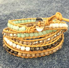 Fashion Hot Sale Multi Strands Round White Sea Shell Amazon Stone Beads Wrap Bangle Bracelet