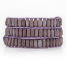 Purple with Brown Color Cats Eye 3 Wrap Bangle Bracelet with Purple Wax Cord and Shell Clasp
