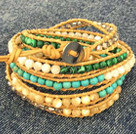 Fashion Hot Sale Multi Strands Round Turquoise Phoenix Stone Cat's Eye Stone Beads Wrap Bangle Bracelet