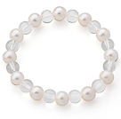 A Grade Round White Freshwater Pearl and Clear Crystal Stretch Beaded Bangle Bracelet