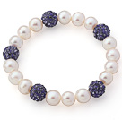 A Grade Round White Freshwater Pearl and Purple Color Rhinestone Ball Stretch Beaded Bangle Bracelet