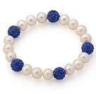 A Grade Round White Freshwater Pearl and Dark Blue Color Rhinestone Ball Stretch Beaded Bangle Bracelet