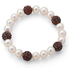 A Grade Round White Freshwater Pearl and Reddish Brown Color Rhinestone Ball Stretch Beaded Bangle Bracelet
