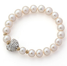 A Grade Round White Freshwater Pearl and White Color Heart Shape Rhinestone Stretch Beaded Bangle Bracelet