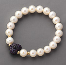 A Grade Round White Freshwater Pearl and Dark Purple Color Heart Shape Rhinestone Stretch Beaded Bangle Bracelet