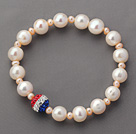 Round White Freshwater Pearl and Small Pink Pearl and Fashion Rhinestone Ball Stretch Beaded Bangle Bracelet