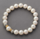 A Grade 9.5mm Round White Freshwater Pearl and Yellow Rhinestone Accessories Stretch Beaded Bangle Bracelet