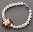 6-7mm Round White Freshwater Pearl and Red Crystal Flower Beaded Bracelet