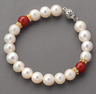 8-8.5mm A Grade Round White Freshwater Pearl and Red Carnelian Beaded Bracelet