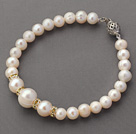 Round White Freshwater Pearl Beaded Bracelet with Yellow Color Rhinestone Spacer Accessories