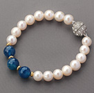 A Grade Round White Freshwater Pearl Beaded Bracelet with Blue Agate and Golden Color Metal Beads