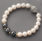 A Grade Round White Freshwater Pearl and Hematite Beaded Bracelet