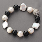 Classic Design White Rebirth Pearl and Black Agate Beaded Bracelet under $ 40