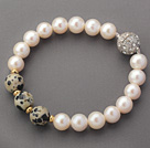 A Grade Round White Freshwater Pearl and Spots Stone and Golden Color Metal Beads Bracelet