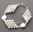 Fashion Style Round White Freshwater Pearl and Clear Crystal Rhombus Bracelet