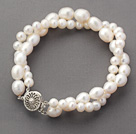 Double Rows White Freshwater Pearl Beaded Bracelet