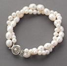 Double Rows White Freshwater Pearl Beaded Bracelet