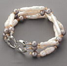 Three Rows Irregular Stick Shape White Pearl and Nearly Round Gray Pearl and Crytal Bracelet