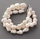 Three Rows Irregular Rice Shape White Pearl Bracelets