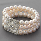 Three Rows A Grade Round White Freshwater Pearl Bridal Beaded Stretch Bangle Bracelet with White Rhinestone Accessory