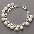 Fashion Style 8-9mm White Round Freshwater Pearl Bracelet with Silver Color Metal Chain