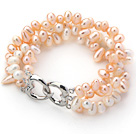 Three Rows White and Pink Top Drilled Freshwater Pearl Bracelet with Heart Shape Clasp