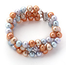 Three Rows Gray Blue and Golden Color Freshwater Pearl Beaded Bracelet