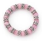 10mm Round Pink Cats Eye and Tibet Silver Spacer Ring Accessories Stretch Bracelet
