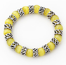 10mm Round Yellow Cats Eye and Tibet Silver Spacer Ring Accessories Stretch Bracelet