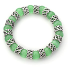 10mm Round Light Green Cats Eye and Tibet Silver Spacer Ring Accessories Stretch Bracelet